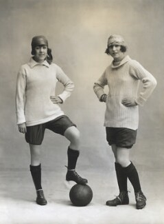 Marjorie Dolman as captain and Dorothy Dolman as centre-half in the Gaiety football team, by Bassano Ltd - NPG x83052