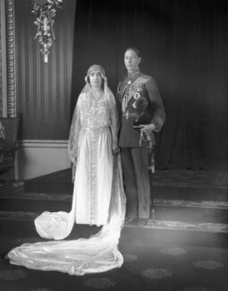 The wedding of King George VI and Queen Elizabeth, the Queen Mother, by Bassano Ltd, 26 April 1923 - NPG x95765 - © National Portrait Gallery, London