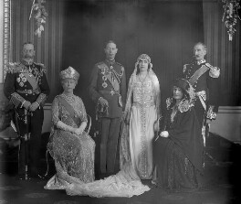 The wedding of King George VI and Queen Elizabeth, the Queen Mother, by Bassano Ltd, 26 April 1923 - NPG x95770 - © National Portrait Gallery, London