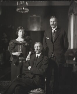 Queen Elizabeth, the Queen Mother with her father and her brother, 15th Earl of Strathmore and Kinghorne, by Bassano Ltd, 20 April 1923 - NPG x95776 - © National Portrait Gallery, London
