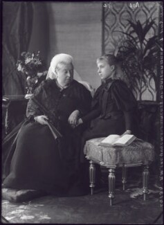Queen Victoria; Victoria Eugenie ('Ena') of Battenberg, Queen of Spain, by Alexander Bassano - NPG x95830