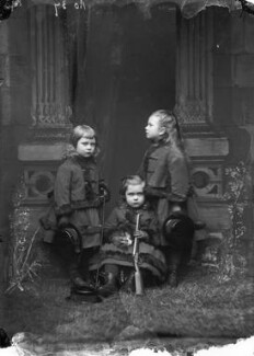 Prince Adolphus, Duke of Teck and Marquess of Cambridge; Prince Francis of Teck; Queen Mary, by Alexander Bassano - NPG x96006