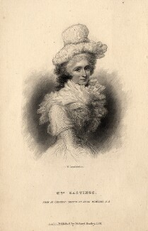 Marian Hastings (née Anna Maria Apollonia Chapuset), by William Greatbach, published by  Richard Bentley, after  Ozias Humphry - NPG D10994