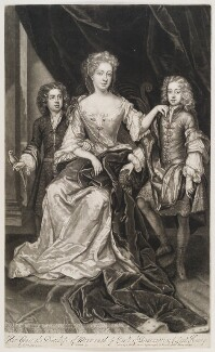 James Scott, Earl of Dalkeith; Anna Scott, Duchess of Monmouth and Duchess of Buccleuch; Henry Scott, 1st Earl of Deloraine, by and published by John Smith, after  Sir Godfrey Kneller, Bt, 1688 - NPG D11552 - © National Portrait Gallery, London