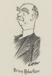 Brian Hubert Robertson, 1st Baron Robertson of Oakridge, by Sir David Low - NPG 6569