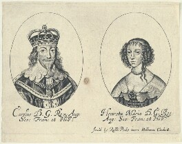 King Charles I; Henrietta Maria, by William Faithorne, published by  Sir Robert Peake, after  Sir Anthony van Dyck - NPG D22818
