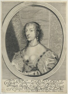 Henrietta Maria, by William Faithorne, published by  Sir Robert Peake, after  Sir Anthony van Dyck - NPG D22775