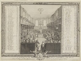 A View of the House of Commons (includes Robert Walpole, 1st Earl of Orford; Arthur Onslow and numerous other sitters), by John Pine - NPG D11092