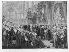 Lord Mayor Newnham taking the Oaths, 1782 (includes Nathaniel Newnham; John Boydell and numerous other sitters), by Benjamin Smith, after  William Miller - NPG D11094