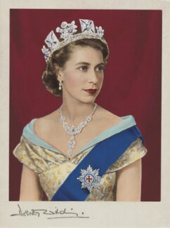 Queen Elizabeth II, by Dorothy Wilding, hand-coloured by  Beatrice Johnson - NPG x34852