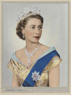 Queen Elizabeth II, by Dorothy Wilding, hand-coloured by  Beatrice Johnson - NPG x34855
