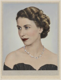 Queen Elizabeth II, by Dorothy Wilding, hand-coloured by  Beatrice Johnson - NPG x34846