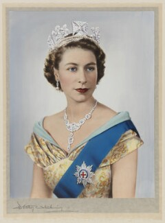 Queen Elizabeth II, by Dorothy Wilding, hand-coloured by  Beatrice Johnson - NPG x125106