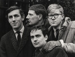 Beyond the Fringe (Peter Edward Cook; Jonathan Miller; Dudley Moore; Alan Bennett), by Lewis Morley, 1961 - NPG x27384 - © Lewis Morley Archive / National Portrait Gallery, London