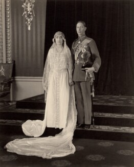 The wedding of King George VI and Queen Elizabeth, the Queen Mother, by H.R. Wicks, for  Bassano Ltd - NPG x38413