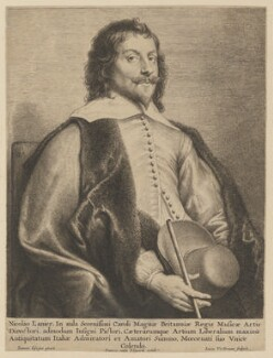 Nicholas Lanier, by Lucas Vorsterman, published by  Frans van den Wyngaerde (Wijngaerde), after  Jan Lievens - NPG D11478