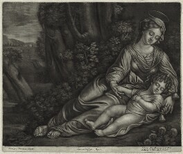 Virgin and Sleeping Child in a Landscape, published by Alexander Browne, after  Parmigianino (Girolamo Francesco Maria Mazzola), circa 1684 - NPG  - © National Portrait Gallery, London