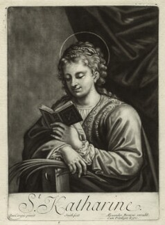 St Catherine reading, by John Smith, published by  Alexander Browne, after  Antonio Allegri da Correggio, circa 1684 (1520s) - NPG  - © National Portrait Gallery, London