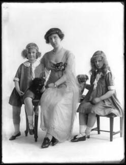 Marie Louise Priscilla; Ethel Lucy (née Hare), Lady Perrott; Helena Ruth (née Perrott), Viscountess Maitland, by Bassano Ltd - NPG x120384