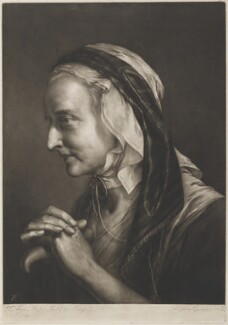 Old woman leaning on crutch, by Thomas Frye, published 1760 - NPG  - © National Portrait Gallery, London