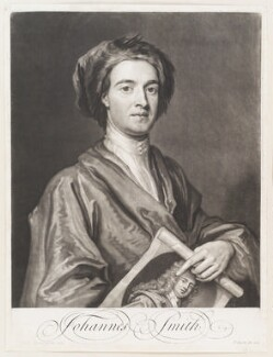 John Smith holding print by John Smith of Sir Godfrey Kneller, Bt, by John Smith, after  Sir Godfrey Kneller, Bt - NPG D11491