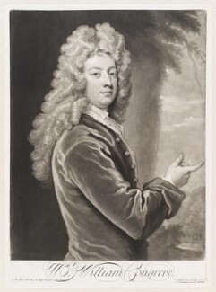 William Congreve, by and published by John Smith, after  Sir Godfrey Kneller, Bt, 1710 (1709) - NPG  - © National Portrait Gallery, London