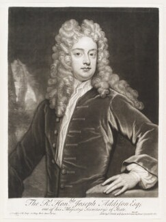 Joseph Addison, by John Simon, published by  John Smith, after  Sir Godfrey Kneller, Bt - NPG D11504