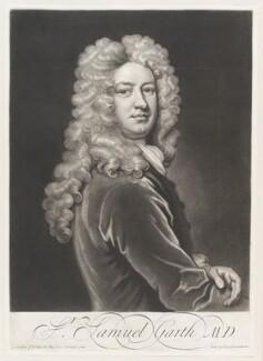 Sir Samuel Garth, by John Simon, published by  John Smith, after  Sir Godfrey Kneller, Bt - NPG D11507