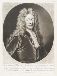 Sir Christopher Wren, by and published by John Smith, after  Sir Godfrey Kneller, Bt - NPG D11512