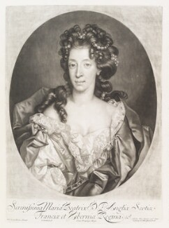 Mary of Modena, by John Smith, published by  Alexander Browne, after  Nicolas de Largillière - NPG D11524