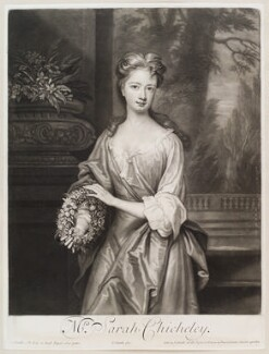 Sarah Plowden (née Chicheley), by and published by John Smith, after  Sir Godfrey Kneller, Bt, 1701 - NPG D11601 - © National Portrait Gallery, London