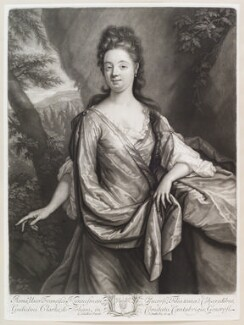 Anne Kynnesman (née Clarke), by and published by John Smith, after  Godfried Schalcken, 1698 - NPG D11606 - © National Portrait Gallery, London
