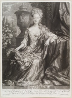 Constantia Smithson (née Hare), by and published by John Smith, after  Herman Verelst, 1694 - NPG D11607 - © National Portrait Gallery, London