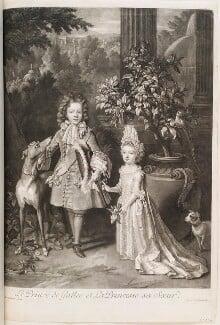 Prince James Francis Edward Stuart; Princess Louisa Maria Theresa Stuart, by and published by John Smith, after  Nicolas de Largillière, 1699 (1695) - NPG D11539 - © National Portrait Gallery, London