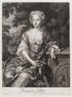 Lucy Loftus (née Brydges), Viscountess Lisburne, by and published by John Smith, after  Sir Godfrey Kneller, Bt, 1685 - NPG D11623 - © National Portrait Gallery, London