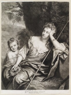 Mrs Voss and Catherine Kneller, later Mrs Huckle, by and published by John Smith, after  Sir Godfrey Kneller, Bt - NPG D11630