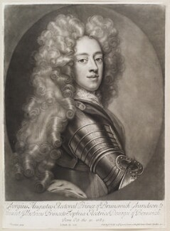 King George II when Prince of Hanover, by and published by John Smith, after  Johann Leonhard Hirschmann, 1706 - NPG D11635 - © National Portrait Gallery, London
