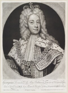 King George II when Prince of Wales, by and published by John Smith, after  Sir Godfrey Kneller, Bt - NPG D11641