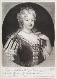 Caroline Wilhelmina of Brandenburg-Ansbach when Queen Caroline, by and published by John Smith, after  Sir Godfrey Kneller, Bt - NPG D11642