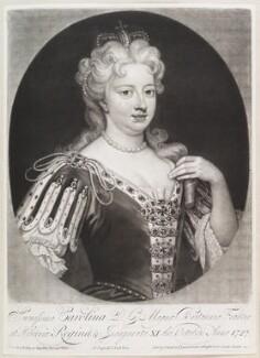 Caroline Wilhelmina of Brandenburg-Ansbach when Queen Caroline, by and published by John Smith, after  Sir Godfrey Kneller, Bt, 1717-1727 - NPG D11642 - © National Portrait Gallery, London