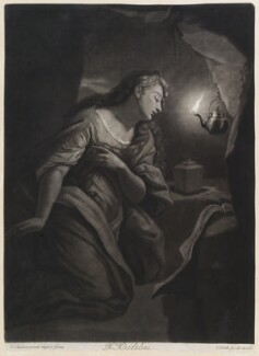 The Penitent Magdalene, by and published by John Smith, after  Godfried Schalcken - NPG D11720