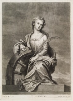 Mrs Cross as St Catherine, by and published by John Smith, after  Sir Godfrey Kneller, Bt, 1697 - NPG D11725 - © National Portrait Gallery, London