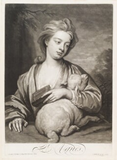 Catherine (née Kneller) Huckle as St Agnes, by and published by John Smith, after  Sir Godfrey Kneller, Bt, 1716 - NPG D11726 - © National Portrait Gallery, London