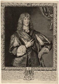 John Belasyse (Bellasis), 1st Baron Belasyse of Worlaby, by Robert White, after  Sir Anthony van Dyck - NPG D12225