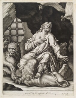 Daniel in the Lions Den, published by John Smith, after  Dirck Barendsz - NPG D11744