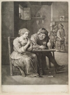 Woman playing a pipe in a tavern, published by John Smith, after  David Teniers Jr - NPG D11752