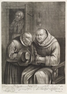 Man confessing to a monk, by Isaac Beckett, after  Egbert van Heemskerck the Elder - NPG D11758