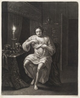 Woman searching for fleas by candlelight, by Robert Robinson, after  Michiel van Musscher - NPG D11773