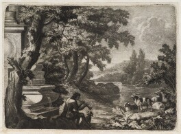 Shepherd piping by a fountain, by Robert Robinson, published by  John Smith - NPG D11794