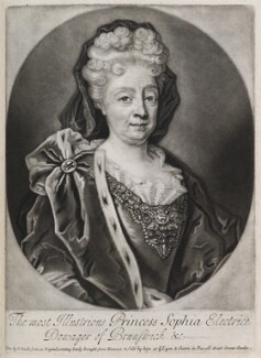 Princess Sophia, Electress of Hanover, by and published by John Smith, possibly after  Friedrich Wilhelm Weidemann - NPG D11929